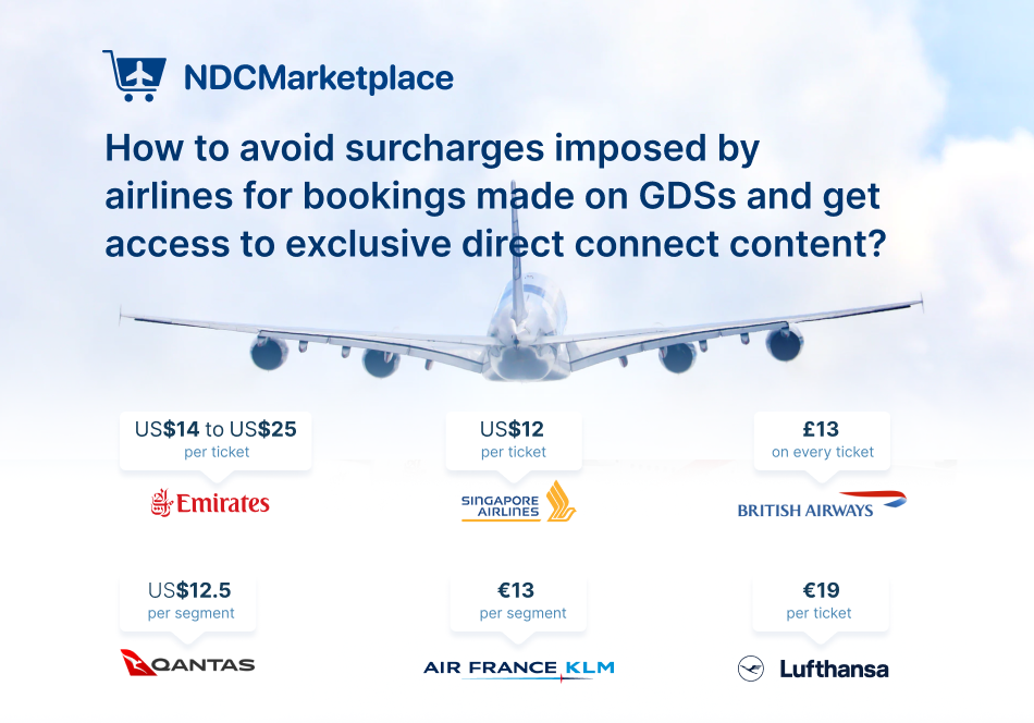 How to avoid booking surcharge imposed by airlines on GDS and get access to exclusive NDC/direct connect content?